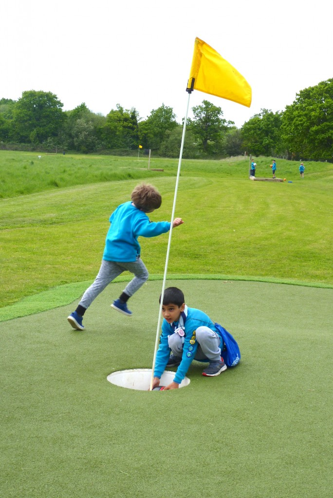 Beavers play footgolf